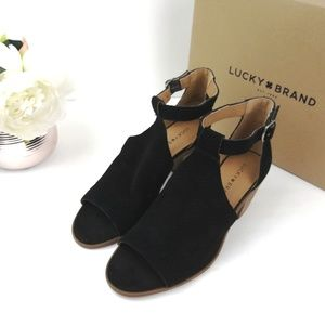 Lucky brand Ankle Strap Booties Suede 8M open toe